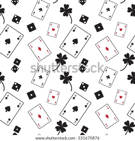 Gambling card dice vector pattern
