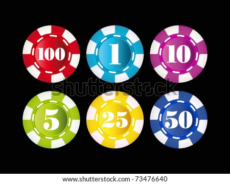 gambling chips isolated on black background - stock vector