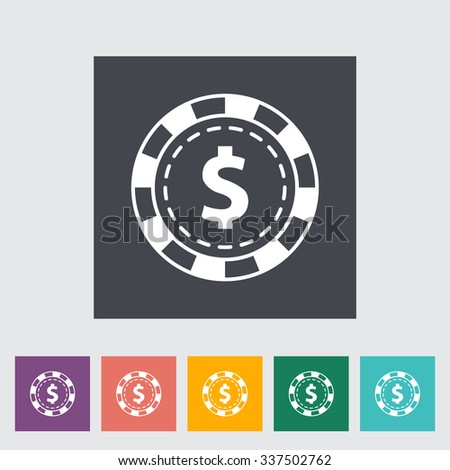 Gambling chips. Single flat icon on the button. Vector illustration. - stock vector