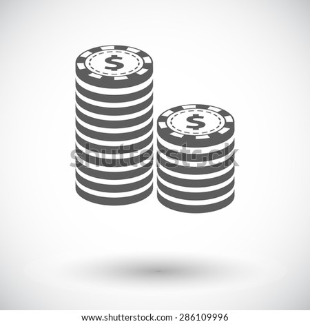 Gambling chips. Single flat icon on white background. Vector illustration. - stock vector