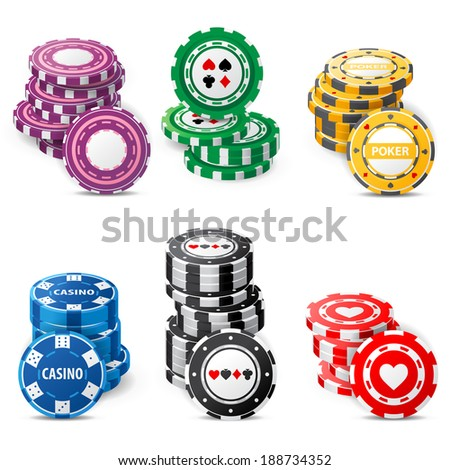 gambling chips stacks over white background - stock vector