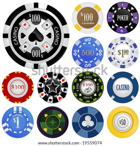 gambling chips vector set - stock vector