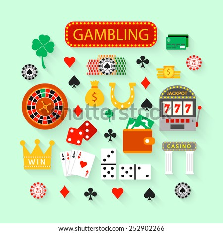 Gambling flat icons set. Casino concept collection.