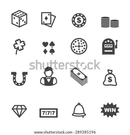 gambling icons, mono vector symbols - stock vector