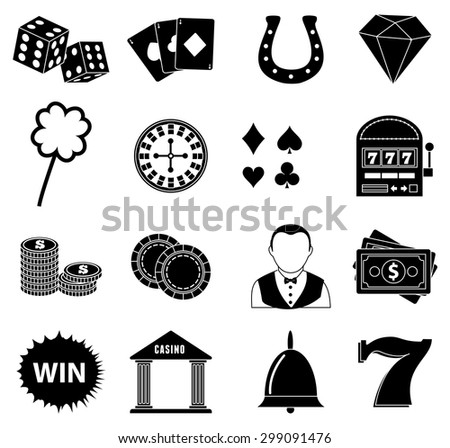 Gambling icons set - stock vector