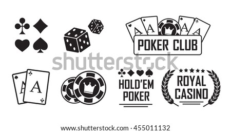 Gambling icons set. Card and casino, poker game eps10 - stock vector