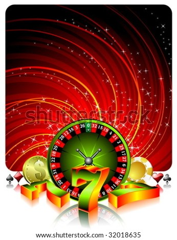 Gambling illustration with casino elements on grunge background. - stock vector