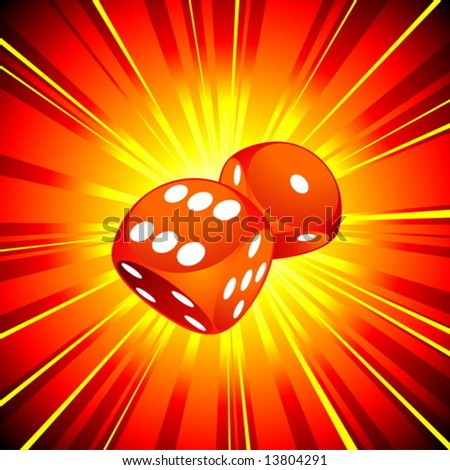 Gambling illustration with two red dice on shiny background. - stock vector