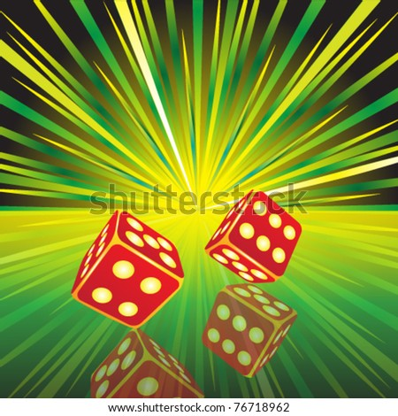 Gambling illustration with two red on glass surface - eps 10 - stock vector