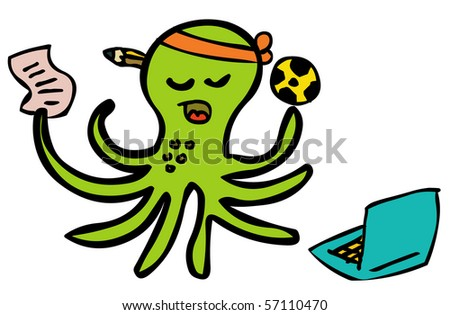 gambling octopus football - stock vector