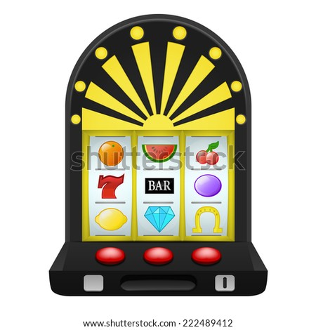 gambling on black play machine object vector illustration - stock vector