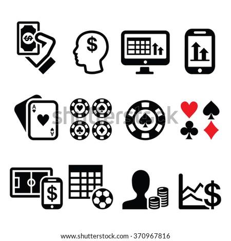 Gambling, online betting, casino icons set - stock vector