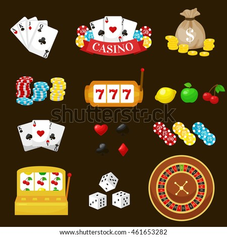 Gambling pictograms set. Deck of cards and casino, playing poker, venturesome game, dice  ace vector illustration