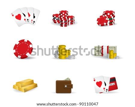 Gambling - poker icon set - stock vector