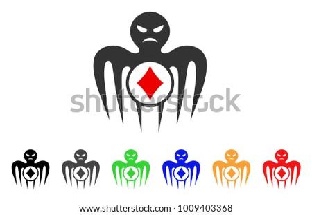 Gambling Spectre Monster Icon Vector Illustration Stock Vector