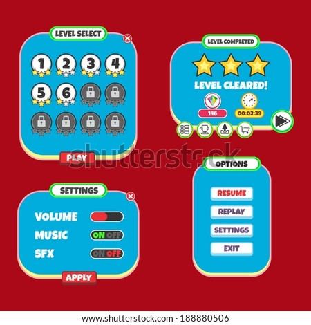 game assets layer menu template - stock vector