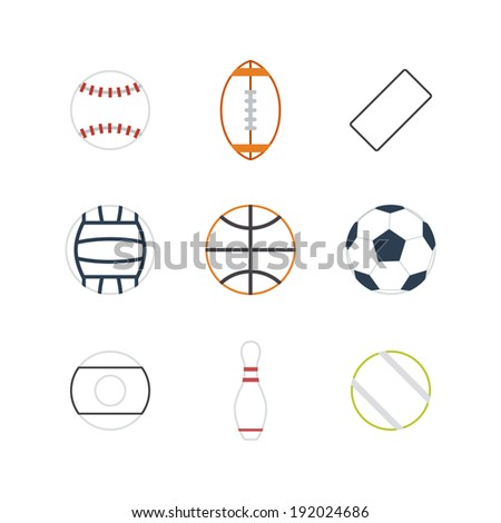 Game balls icons design with white background