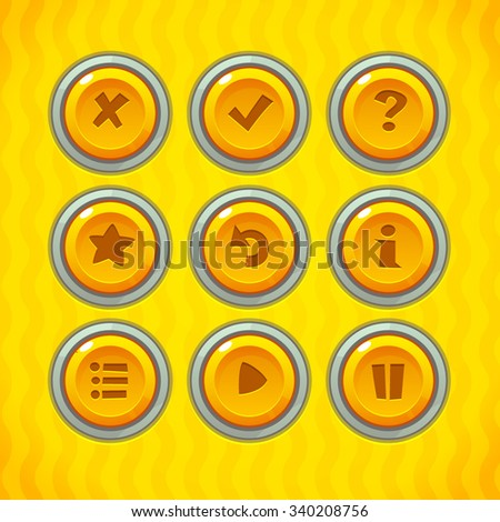 Game Buttons with Icons Set 2. Vector GUI elements for mobile games - stock vector