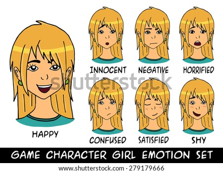 game character girl blonde hair emotions set. Vector illustration. Made with love - stock vector