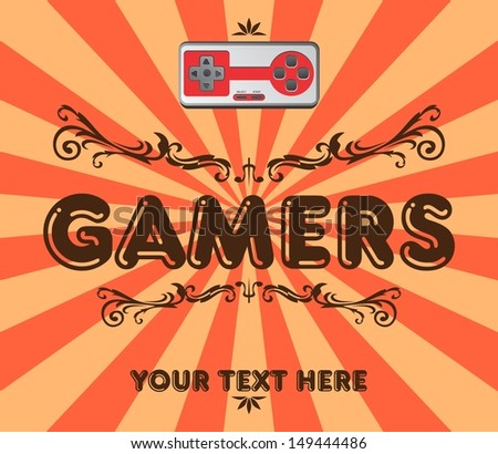 game club art vintage floral - stock vector
