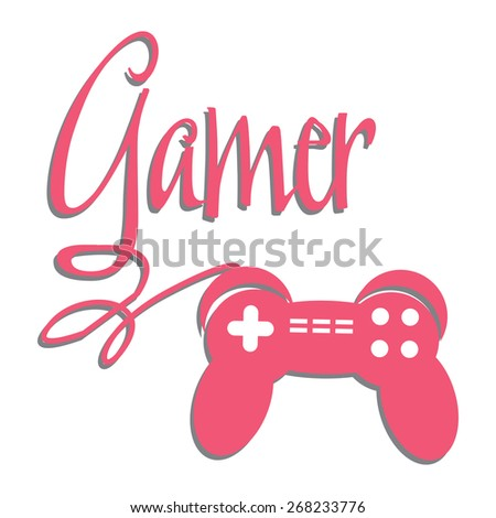 Game console controller connected to the word gamer. Gaming theme - stock vector