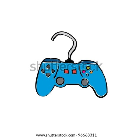 game console gadget and joypad with color - vector illustration - stock vector