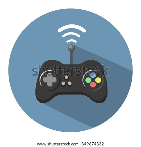 game controller flat icon - stock vector