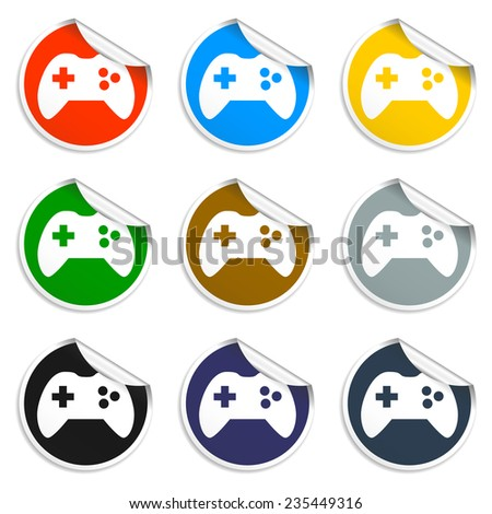 Game controller icon. Set of blank stickers Eps - stock vector