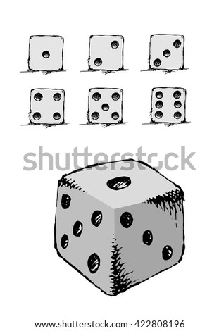 Game dice set. Set of hand drawn devil bones. Luck, success. Hand drawn vector stock illustration. Isolated on white background - stock vector
