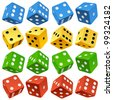 Game dice set. Vector red, yellow, green and blue icons - stock photo