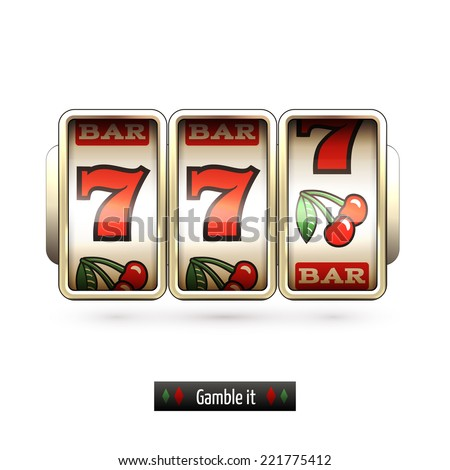 Game gamble casino slot machine realistic isolated on white background vector illustration - stock vector
