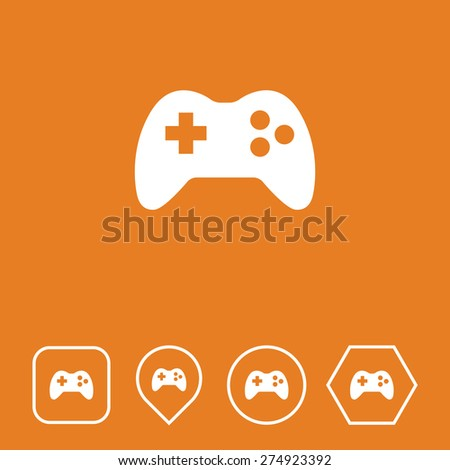 Game Icon on Flat UI Colors with Different Shapes. Eps-10. - stock vector