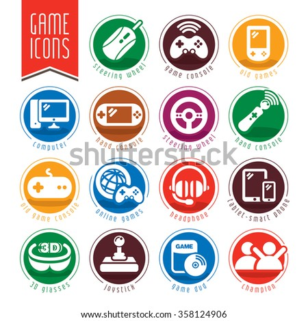 Game icon set. - stock vector