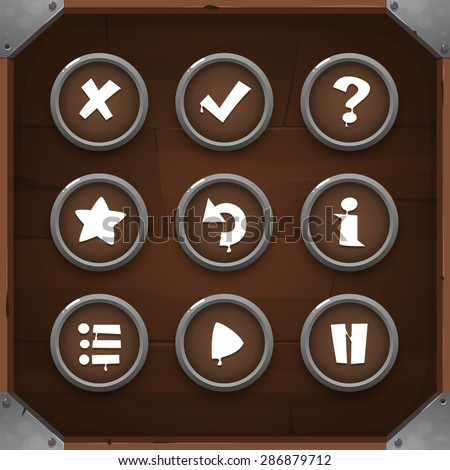 Game Icons on wooden background Set 2. Vector GUI elements for mobile games - stock vector