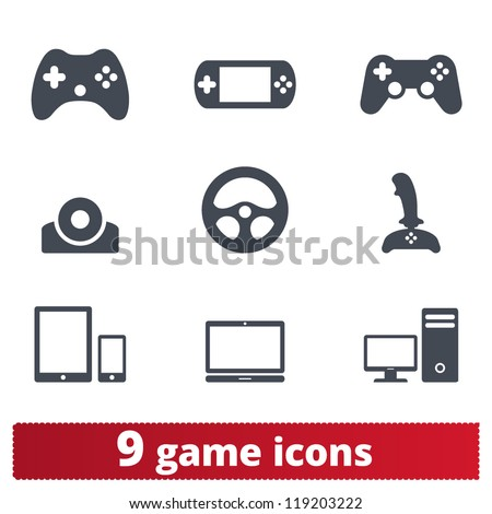 Game icons: vector set of gadget signs - stock vector