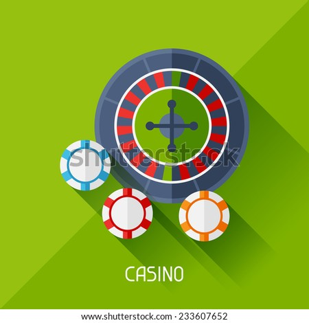 Game illustration with casino in flat design style. - stock vector
