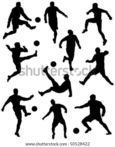 Game in football with a ball - stock vector