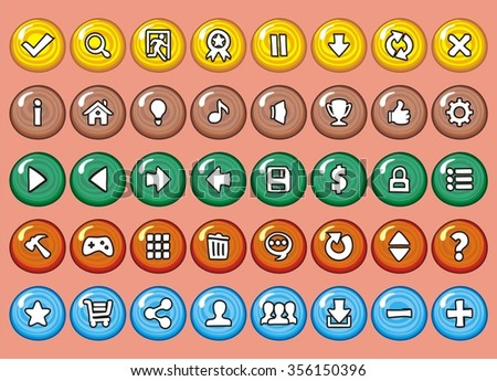 game interface buttons set, icon for application and game