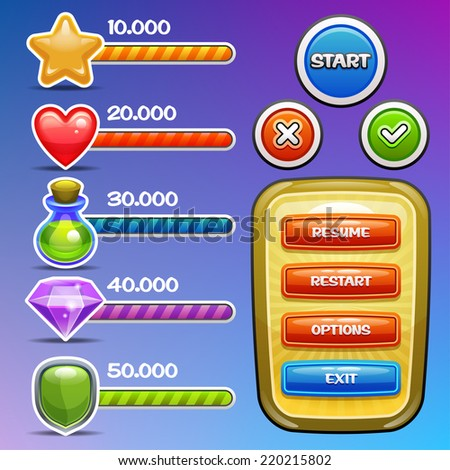 Game interface elements. Icons with progress bars, option banner and buttons. Vector eps 10.