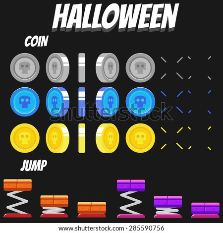 Game Kits adventure design part 10 (Halloween Coin&Jump) - stock vector