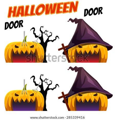 Game Kits adventure design part 9 (Halloween Pumpkin door) - stock vector