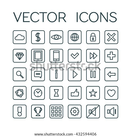 Game linear icons set. Vector editable stroke line art symbols isolated on white - stock vector