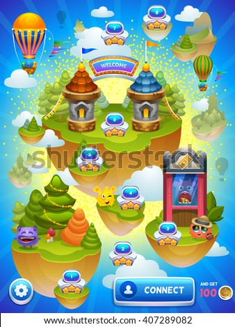 Game map. Vector illustration. - stock vector