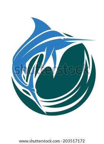 Game or sport fishing icon with a leaping blue colored swordfish or marlin logo above swirling water isolated over white background - stock vector