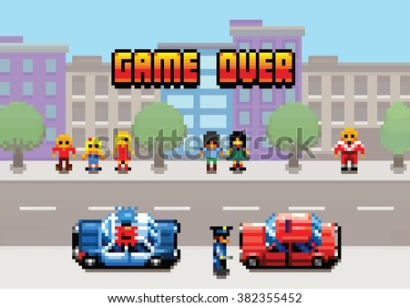 Game Over - car stopped by the police pixel art video game style retro layer illustration - stock vector