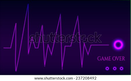 Game over - ekg graph - on dark background