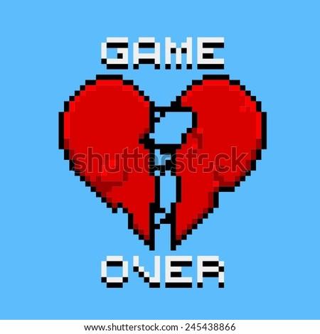 Game over - pixel-art logo. Love is over - stock vector
