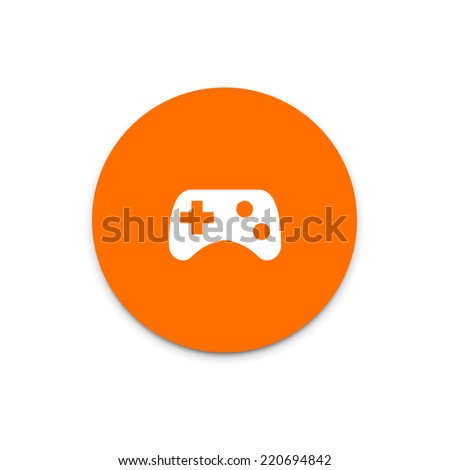 Game pad, joystick, computer games icon on colorful floating ui action button.  - stock vector