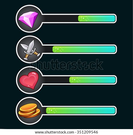 Game progress bar. Game UI - stock vector