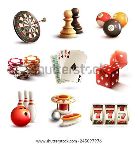 Game realistic icons set with casino sport and leisure games isolated vector illustration - stock vector